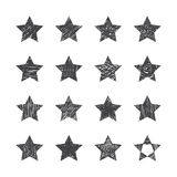 Set of hand drawn stars on white background Royalty Free Stock Images