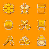 Set of hand drawn stickers on beekeeping theme Stock Photos