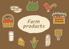 Set of hand drawn stickers on farm products theme Royalty Free Stock Images