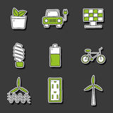Set of hand drawn stickers on renewable energy Royalty Free Stock Images