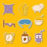 Set of hand drawn stickers on sleep theme Royalty Free Stock Photography