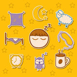 Set of hand drawn stickers on sleep theme Stock Images
