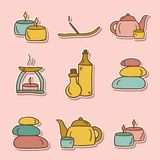 Set of hand drawn stickers on spa theme Royalty Free Stock Photography