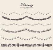Set drawn string lights garlands design vector