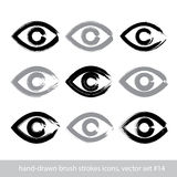 Set of hand-drawn stroke human eye icons, collection of brush dr Stock Photo
