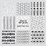 Set of hand drawn style abstract geometric seamless patterns. A set of hand drawn style abstract geometric seamless patterns. Set of Vector doodles seamless Stock Images