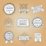 Set of hand drawn style badges and elements Stock Images