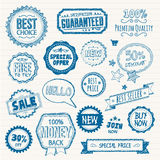 Set of hand drawn style badges and elements royalty free illustration