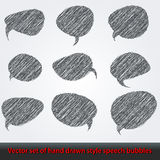 Set of hand drawn style comic speech bubbles Royalty Free Stock Image