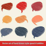 Set of hand drawn style comic speech bubbles Stock Photo