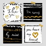 A set of hand drawn style greeting cards in black, golden and white. Valentine s Day card templates. Brush design elements.  Stock Image