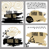 A set of hand-drawn style of greeting cards. Templates in black, white and gold. Abstract strokes of paint and doodle design with copy space. (The words thank Royalty Free Stock Image