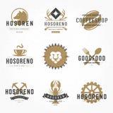 Set hand drawn style retro logos or badges Royalty Free Stock Photos