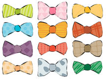 A set of hand drawn stylish bow ties.  Royalty Free Stock Photo