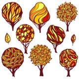 Set of hand-drawn stylized trees stock illustration