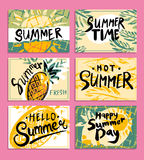 Set of hand drawn summer card. vector illustration