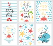 Set of hand drawn summer cards and banners sea ocean phrases summer time vacation. Set of hand drawn summer cards and banners. Vector illustrations for graphic stock illustration