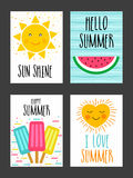 Set of hand drawn Summer Cards. Royalty Free Stock Images