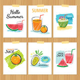 Set of hand drawn summer cards.Label of vacation Royalty Free Stock Photo