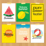 Set of hand drawn summer cards.Label of vacation Royalty Free Stock Photos