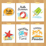 Set of hand drawn summer cards.Label of vacation Stock Image