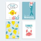 Set of hand drawn summer greeting or journaling cards. Tropical design with lemon fruit, fish, ocral reef, crab and. Marmaid tail . Summer vacation, ocean royalty free illustration