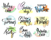 Set of hand drawn summer labels, logos, and elements set for summer holiday, beach vacation. Vector illustration. stock illustration