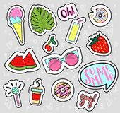 Set of hand drawn summer patches, stickers, badges on grey background. stock illustration