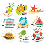 Set of hand drawn summer signs and banners. Stock Image