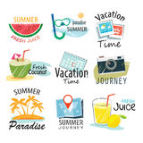 Set of hand drawn summer signs and banners. Stock Photo