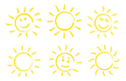 Set of hand drawn sun icons. Royalty Free Stock Image
