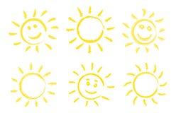 Set of hand drawn sun icons. Royalty Free Stock Image