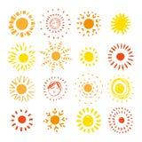 Hand drawn sun. Sun icon. Stylized sun. Vector Illustration. Royalty Free Stock Photo