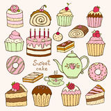 Set of hand drawn sweet cupcakes Royalty Free Stock Image