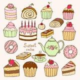 Set of hand drawn sweet cupcakes Royalty Free Stock Image