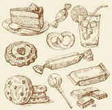 Set of hand drawn sweets royalty free illustration