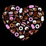 Set of hand drawn sweets and dessert food. Inside shape of heart royalty free illustration
