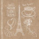Set of hand drawn symbols of France doodles  on kraft pa Stock Image