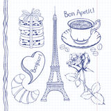 Set of hand drawn symbols of France,  doodles . Royalty Free Stock Photos