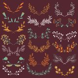 Set of hand drawn symmetrical floral graphic design elements in retro style. Stock Images