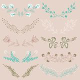 Set of hand drawn symmetrical floral graphic design elements in retro style. Royalty Free Stock Photos