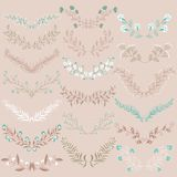Set of hand drawn symmetrical floral graphic design elements in retro style. Stock Image