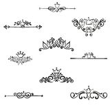 Set of hand drawn symmetrical floral graphic Royalty Free Stock Images