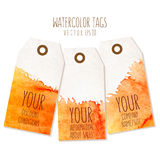 Set of hand drawn tags with watercolor background. Vector eps 10 Stock Images