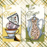 Set of hand drawn tea time cards Royalty Free Stock Photography