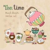 Set of hand drawn Teatime design elements Royalty Free Stock Photo