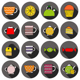 Set of hand drawn teatime icons Stock Images