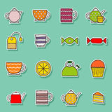 Set of hand drawn teatime stickers Stock Photography