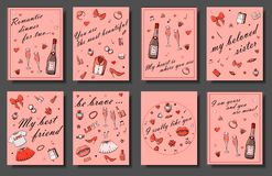 Set of hand drawn templates fashion cards with girls things, romantic objects and phrases. Postcards with women`s clothing, stock illustration