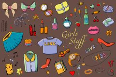 Set of Hand drawn Templates Fashion illustration with Girls Stuff. Set of women`s clothing, jewelry, cosmetics, gifts and romance vector illustration
